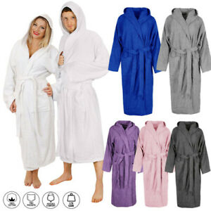 Unisex Luxury Hooded Egyptian Cotton Bath Robe Terry Toweling Dressing Spa Gown