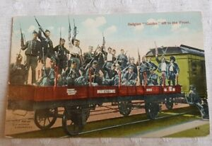 WW1 Original military Army colour postcard - Belgian Guides off to the front