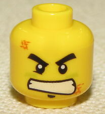 LEGO NEW DUAL SIDED MINIFIGURE HEAD WITH SCOWL WHITE TEETH GRIN BRUISED FACE