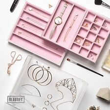 Beautify Jewellery Box Clear Acrylic 3 Drawers Pink Dividers Storage Organiser