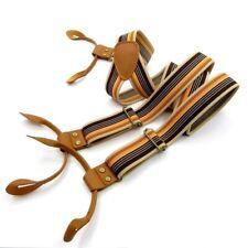 Suspender Strap Vintage Stripe Men Casual Fashion Leather Adjustable Button Belt