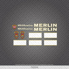 01224 Merlin Racing Cycles Bicycle Stickers - Decals - Transfers - White & Gold