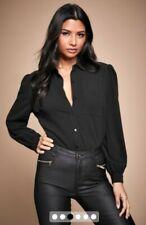 Bnwt Lipsy Black Simple Long puff Sleeve Shirt Blouse Top Size 18