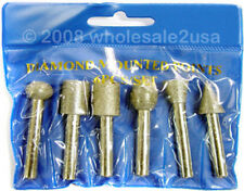 "6 BIG Diamond Burrs 1/4"" Mandrel Bits NOT for Dremel"