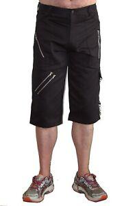 Black Cotton Bondage Shorts. Punk Rock