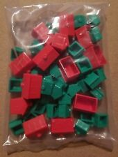 Monopoly Replacement Pieces: New Set of Plastic Green Houses & Red Hotels