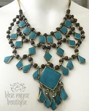 Tribal Kuchi Vintage Turquoise BoHo Belly Dance Gypsy 3 Line Bohemian Necklace