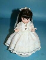 "Madame Alexander My First Communion Doll 8"" Brunette Hair Dress Cross Necklace"