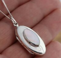 925 Sterling Silver Mother of Pearl Oval Locket  Shell Pendant  Box