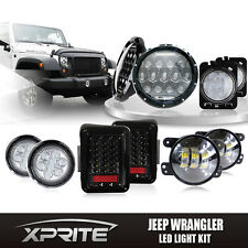"7"" 75W CREE LED Headlights w/Turn Signal Fog Side & Taillight Combo For Jeep"