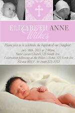 30 Personalized Baby Baptism Christening Custom Photo Invitation Unique Cross A1