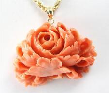 Auténtico Natural Tallado Rosado Coral Colgante de Flor 14K Oro Amarillo Grueso