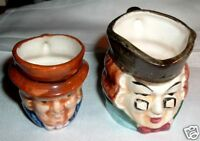 VINTAGE PAIR HAND PAINTED SMALL TOBY CHARACTER JUGS
