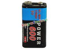 1xBloque de 9V 600mAh de 9 voltios de energía Negro Ni-Mh batería recargable PPS