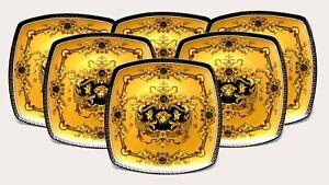 "Euro Porcelain 7"" Salad Dessert Plate Deluxe 24K Greek Key Set of 6 - Yellow"
