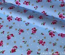 ROSE & HUBBLE BLUE DITSY ROSES & BOWS FABRIC 100% COTTON 112CM WIDE HALF METRE