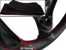 FOR MITSUBISHI L200 1996-2005 BLACK LEATHER STEERING WHEEL COVER RED STITCHING