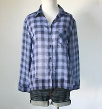 Ladies Plaid Checkered Chiffon Button Down Collar Long Sleeve Shirt Top Blouse S