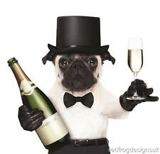 """Anniversary Card Fawn Pug Dog """"Let's Celebrate"""" - Fast Despatch & Freepost!"""