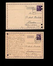 WWII Germany Hitler Head Bohemia Postal Card Correspondence Late 1945 6q