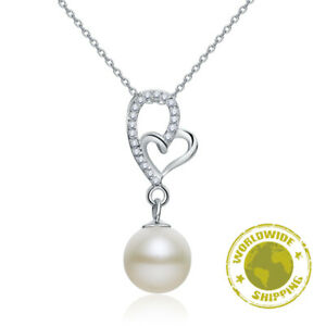 Fresh Water Pearl Heart Necklace Quality Fine 925 Sterling Silver Jewellery