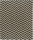 Contemporary Dark Brown and White Zig-Zag Rug N11597