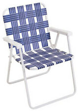 New listing Folding Web Chair, White Powder-Coated Steel Frame & Blue Webbing
