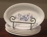 VINTAGE Arcopal France Oval Dish Set BLUE ONION Set of 5