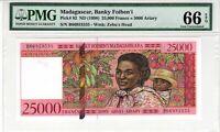 Madagascar 1998 25000 Francs PMG Certified Banknote UNC 66 EPQ Gem Pick 82
