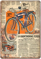 "1928 Hawthorne Flyer Bicycle Ad -  12"" x 9"" Retro Look Metal Sign B99"