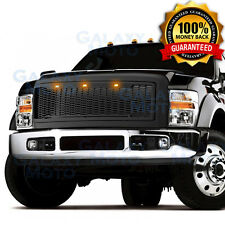 08-10 Ford Super Duty Raptor Matte Black Front Hood Mesh Grille+Shell+Amber LED
