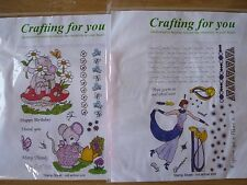 Rubber Stamp Sheets x 2 sets, Mouse in Garden and Glamour Lady, Crafting For You