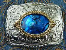 NEU Handarbeit Gürtelschnalle blau Abalone Muschel, Silber Metall Western Cowboy
