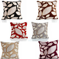 "London Leaf Chenille Cushion Cover 18"" x 18"" / 22"" x 22"" 6 Colours Available"