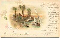 Ägypten, Kairo, Schiffe auf dem Nil, Farb-Litho, 1901
