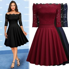New Women's Vintage Elegant Lace Cocktail Evening Party Sexy Night Swing Dress