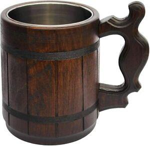 Beer Mug Handmade Oak Wood Stainless Steel Cup Beer Tankard 600ml Old Fashioned