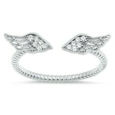 Angel Wings Ring Genuine Solid Sterling Silver 925 Clear CZ Height 5 mm Size 7