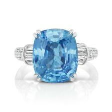 Natural 11.17 ct ICY BLUE Burma  UNHEATED SAPPHIRE AND DIA.18k WHITE GOLD  RING