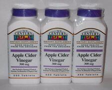 21st Century Apple Cider Vinegar 300mg Tablets 250ct Bottle -3 Pack