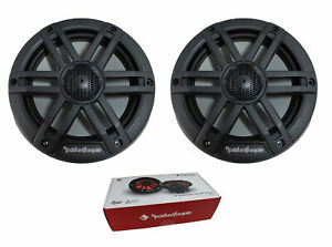 "Pair of Rockford Fosgate 6.5"" Black 600W 4 Ohm Color Optix Marine 2 Way M1-65B"