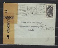 1940 French Oceania Scott 112 on censored cover Papeete to Springfield, MA