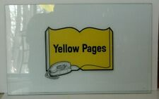 Rare Vintage Yellow Pages Rotary Phone Glass Insert Panel / Sign, Phone Booth or