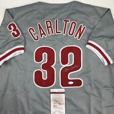 Autographed/Signed STEVE CARLTON Philadelphia Grey Baseball Jersey JSA COA Auto