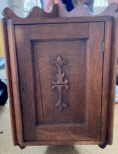 Antique Oak Hanging Corner Cabinet  Cupboard W/ Fleur De Lis Design & 3 Shelves