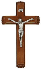 "13"" Hardwood Antique Pewter Sick Call Crucifix"
