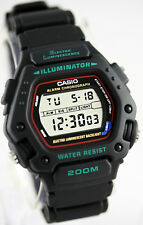 Casio DW-290-1V Mens Black Classic 200M WR Watch Sports Alarm Chronograph New