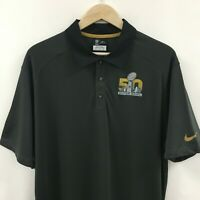 Mens XL NIKE Dri Fit NFL SUPERBOWL 50 Polo Shirt Golf Poly -SUPERB- 24c