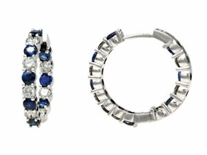 14k White Gold Natural Blue Sapphire Diamond Inside Outside Hoop Earrings 5.99CT