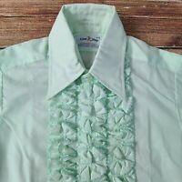 Vintage 70s Lion of Troy Tuxedo Shirt Green Ruffles Dress Prom Men's S 14-32/33